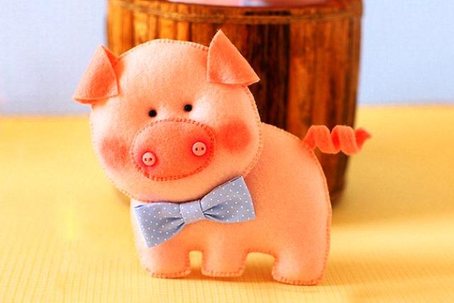 Свинья из фетра шаблон